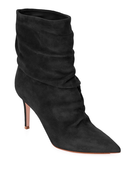 Cecile 85 Ruched Leather Ankle Boots in Black