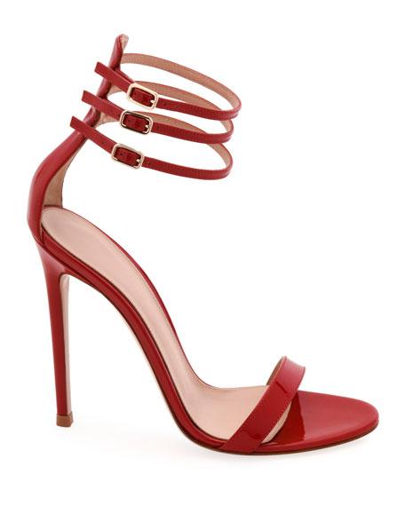 Three-Strap 110mm Shiny Sandals
