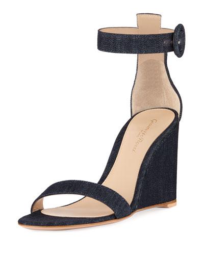 Denim Wedge Ankle Sandals