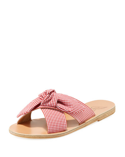 Gingham Fabric Knotted Sandals
