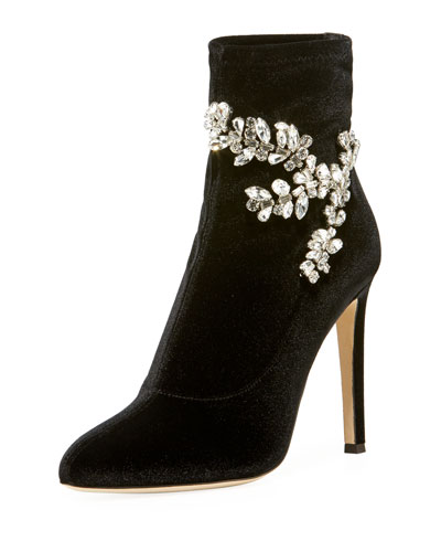 Glitter Stretch Booties with Embellishment