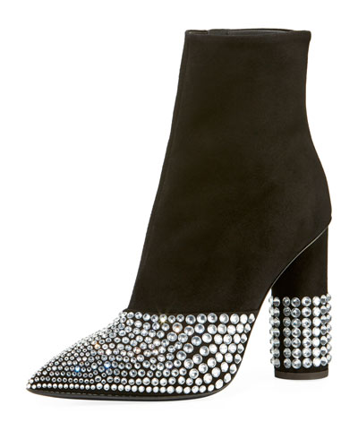 Suede Stretch Booties with Embellishment