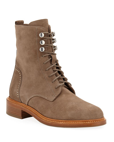 Ali Suede Lace-up Combat Boots