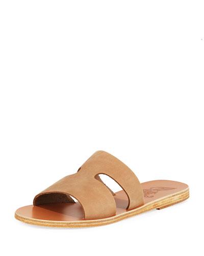 Apteros Cutout Nubuck Flat Slide Sandals
