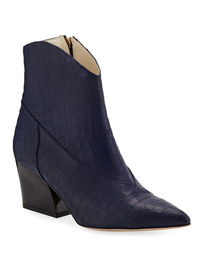 Dylan Croc-Embossed Booties