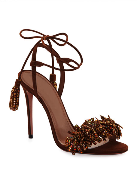 Aquazzura Wild Crystal Fringed Sandals