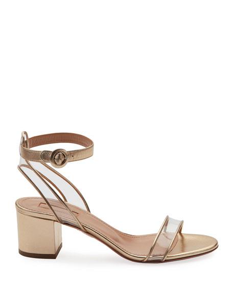 5f93ed03dfb Minimalist Metallic Block-Heel Sandals