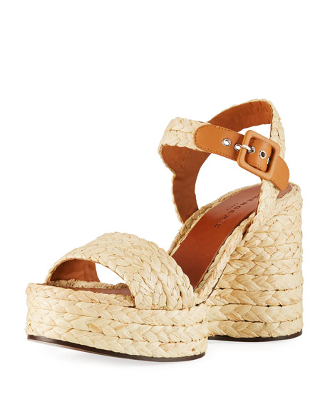 Clergerie Paris Arum Raffia Wedge Sandals