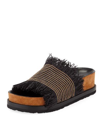Raffia Fringe Platform Sandals