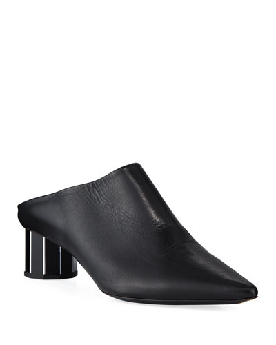 Leather Pointed Slide Mules