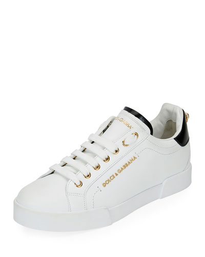 Portofino Leather Sneakers w/ Pearly Logo Back