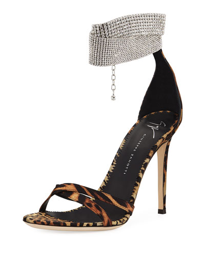 Animal-Print Silk Sandals with Crystal Strap