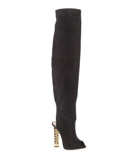 Over-the-Knee Suede Chain-Heel Boots