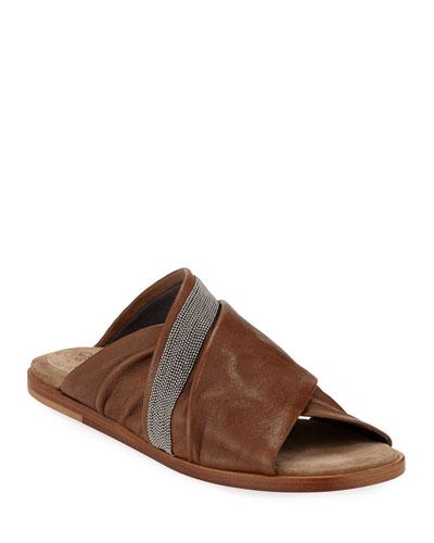 Leather Crisscross Sandals
