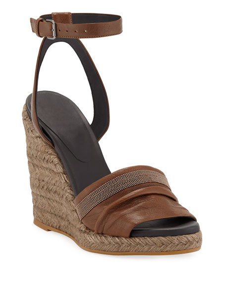 Brunello Cucinelli Leather Wedge Espadrille Sandals with Monili