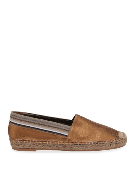 Metallic Leather Slip-On Espadrilles