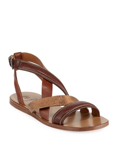 Flat Multi-Strap Leather Sandals