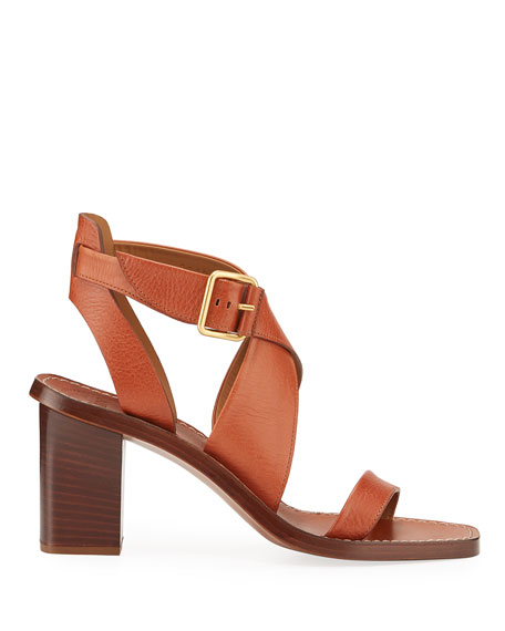 Virginia Strappy Leather Block-Heel Sandals
