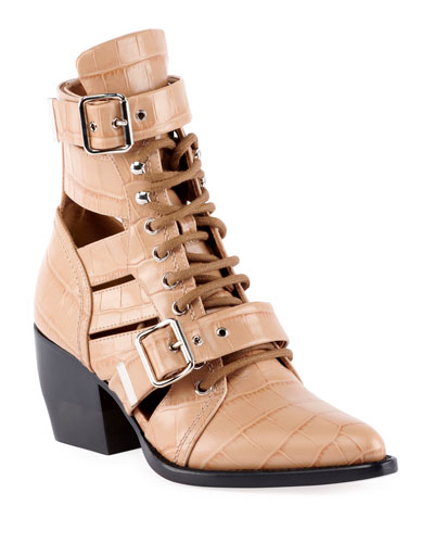 7932b1716a6b Rylee Croco Cutout Block-Heel Lace-Up Combat Boots