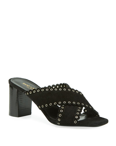 Loulou Suede Eyelet-Trim Slide Sandals