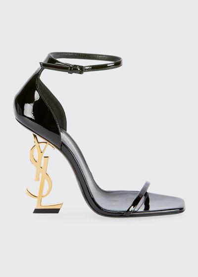 Opyum YSL Logo-Heel Sandals with Golden Hardware