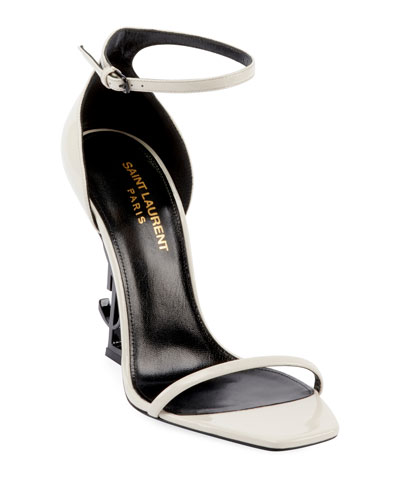 Opyum YSL Logo-Heel Sandals with Black Hardware