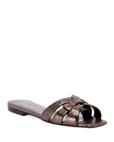 Tribute Flat Crackled Metallic Slide Sandals by Saint Laurent