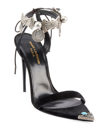 Saint Laurent Dallas Embellished Tie Sandals