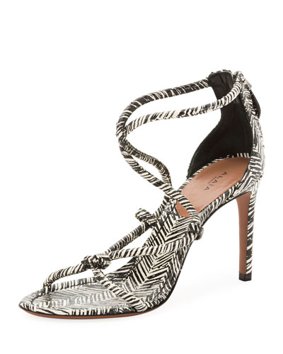 Knotted Printed Sandals