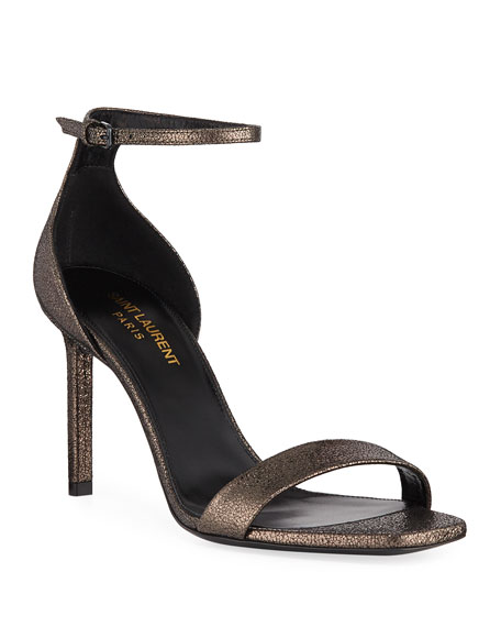 Saint Laurent Amber Metallic Ankle-Wrap Sandals