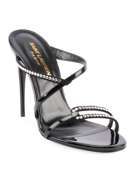 Saint Laurent Paris Embellished Slide Sandals