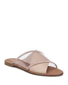 Bailie 4 Clear Crisscross Slide Sandals by Diane Von Furstenberg