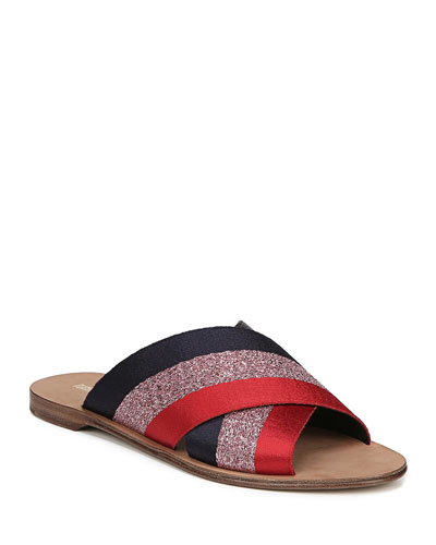 Bailie-2 Ribbon Crisscross Flat Slide Sandals