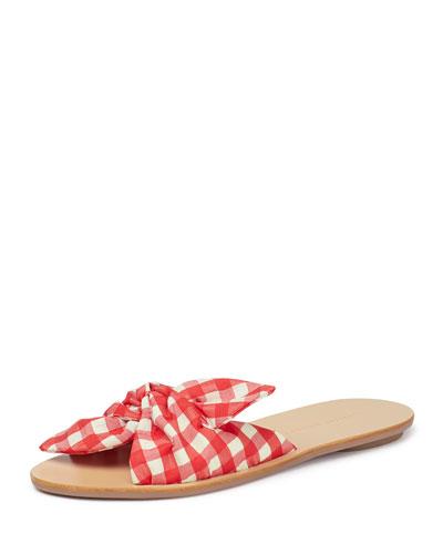 Phoebe Gingham Knotted Slide Sandals
