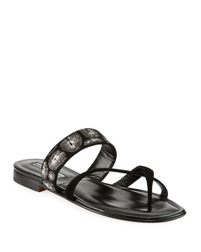 Susilla Embroidered Flat Sandals