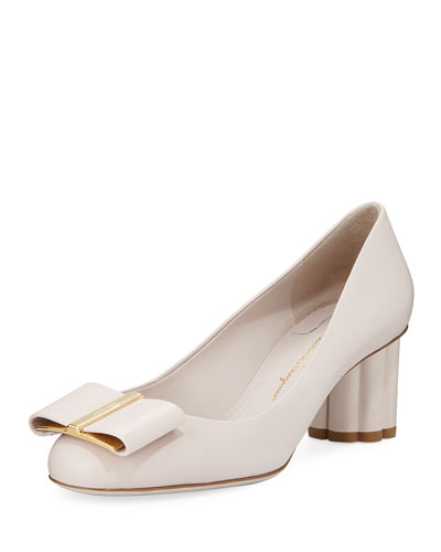Capua 55 Pebbled Leather Pumps with Vara Bow, White