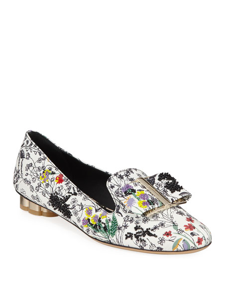 Sarno Beaded Floral-Printed Loafers in Multi Pattern