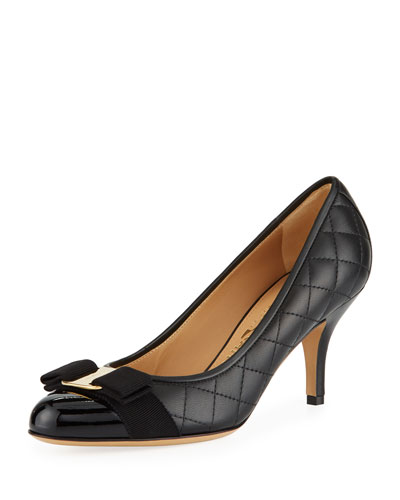 Zeri Mid-Heel Leather Bow Pumps