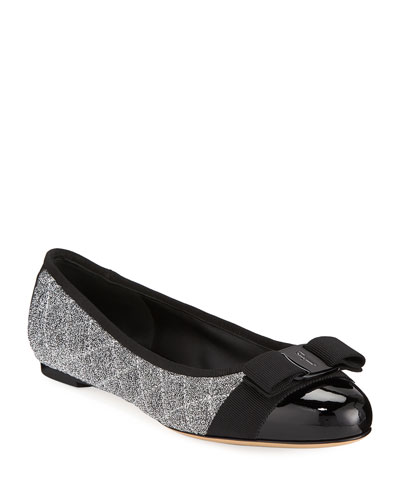 Varina Q Metallic Ballet Flats with Bow