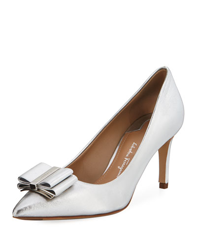 Zeri Mid-Heel Metallic Leather Bow Pumps