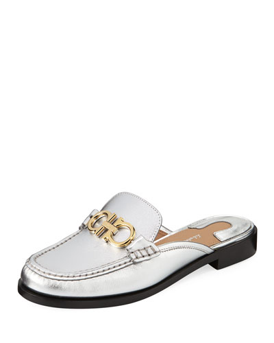 Viggio Flat Mule Loafers with Reversible Gancini Bit