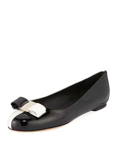 Varina Colorblock Patent Leather Bow Ballet Flats