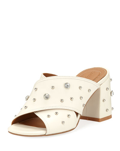 Studded Crisscross Slide Mules