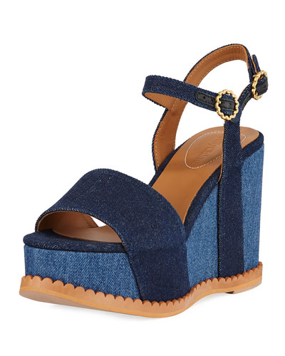 Two-Tone Platform Denim Sandals