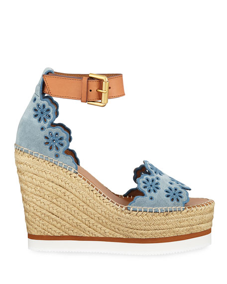 See By ChloÉ Embroidered Suede And Leather Espadrille Wedge Sandals In Blue