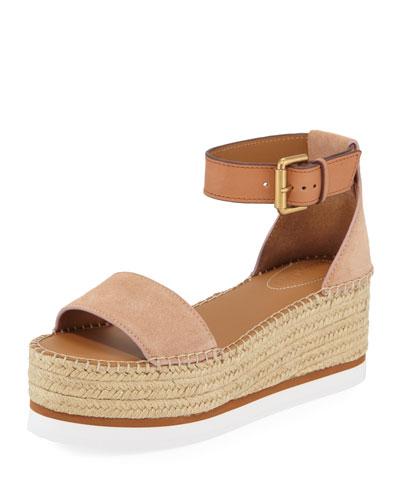 Suede Ankle-Strap Flatform Espadrilles