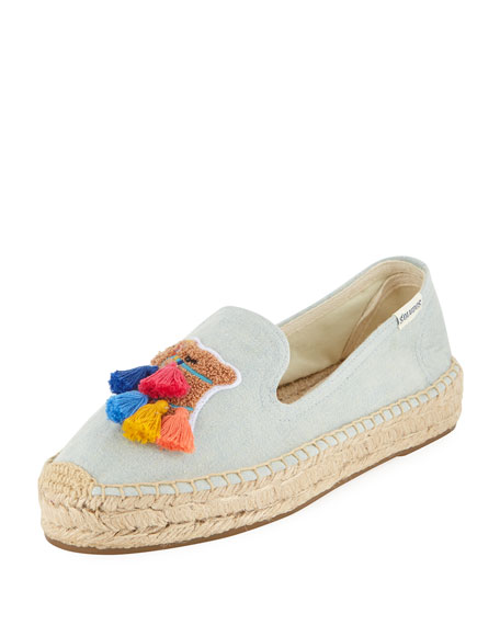 Image 1 of 1: Tassel Camel Espadrille Smoking Slippers