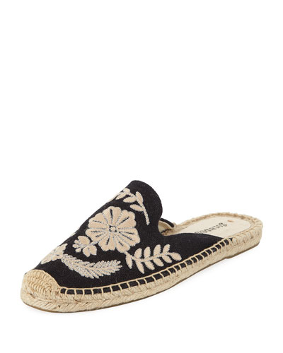 Tuilleries Embroidered Flat Mules