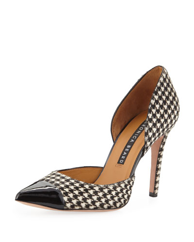 Lyssa High-Heel Houndstooth d'Orsay Pumps
