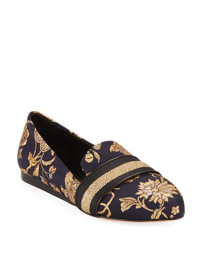 Griffin Flat Metallic Brocade Loafers